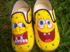 Sepatu Lukis spongebob